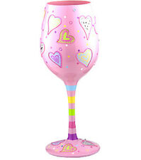 Hearts Pale Pink Painted Wine Glass