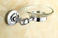 Modern Bathroom Accessory Chrome Brass Wall Mount Glass Soap Dish Holder qba808