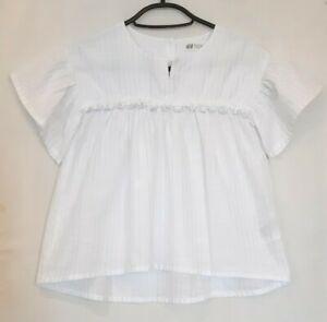 Kids H&M Girls Top Blouse white metallic thread silver short sleeve boho smock