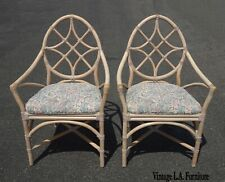 Pair Vintage McGuire Mid Century Modern Bamboo Rattan Accent Chairs As-Is