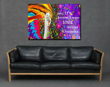Dont Cry Because Its Over Smile Print Canvas Art Picture Wall Abstract Graffiti