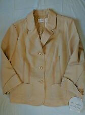 Emma James Blazer Lace Womens 16 Linen Career Professional Beige Tan A69 NWT