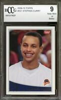 2009-10 Topps #321 Stephen Curry Rookie Card BGS BCCG 9 Near Mint+