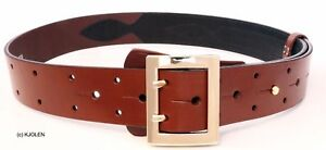 REAL NATO MILITARY ARMY OFFICER POLICE BELT NATURAL LEATHER GUN HOLSTER BULLHIDE