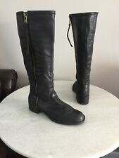 Lucky Brand Black Leather Riding Boots Women's Size EU 39.5 US 9.5