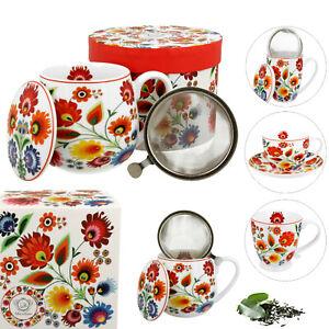 Teetasse mit SIEB und DECKEL Kaffeebecher PORZELLAN Weiß VINTAGE Blumen RETRO