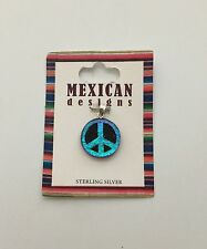 New Mexican Designs Peace Sign Necklace Pendant Jewelry Sterling Silver 925