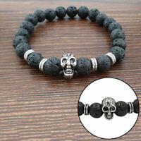 Golden Skull/schwarze Lava-Felsen-Korn Shamballa Stretch-Energie-Armband Su W9R7