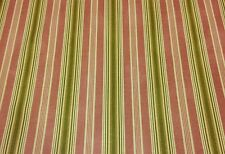 WAVERLY RODEO DRIVE CORAL PINK GREEN STRIPE CURTAIN CUSHION FABRIC BY THE YARD