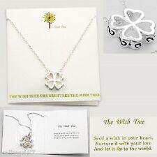 Lucky 4-Leaf Clover Heart Luck Irish Wish Dream Pretty Silvertone Necklace #87-D