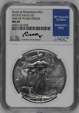 RARE 2015 (P)  NGC MS-69 Silver Eagle, White Holder, Ed Moy Signed Blue Label