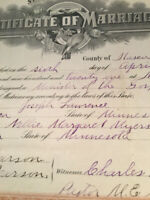 1921 MARRIAGE CERTIFICATE ITASCA CO MN JOSEPH LAWRENCE & NELLIE MARGARET MEYERS