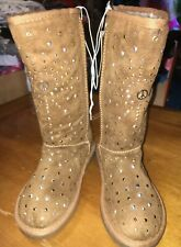 NWT JUSTICE GIRLS TALL BROWN Peace Studded BOOTS SIZE 4