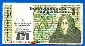 Ireland P70d 1 Punt QUEEN MEDB Sign Doyle/Cromien 10.10.1988 aXF EX SCARCE