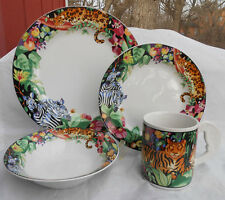 SAKURA RAIN FOREST JUNGLE 16 PC DINNER SALAD PLATE BOWL MUG LEOPARD ZEBRA PARROT