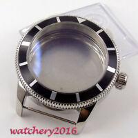 46mm 316L stainless steel black bezel Mens Watch Case fit ETA 2824 2836 Movement