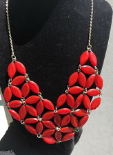 Vtg Red Plastic Bead Bib Silver Tone Necklace SIGNED Avenue