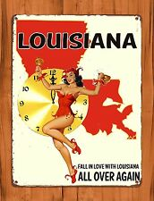 """TIN-UPS TIN Sign """"Fall In Love With New Orleans"""" Vintage Travel Vaccation Poster"""