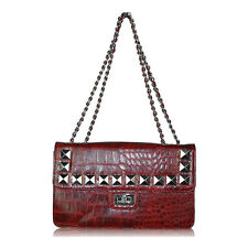 Red Chain Studded Shoulder Handbag in mock crocodile