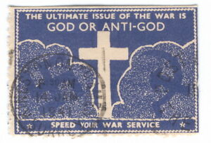 U, God or anti-god, 1941, Propaganda, Poster stamp, Vignete, Cinderella, RARE!!!