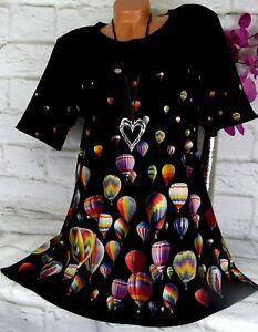 Bergamo Tunika Bluse Kleid Top Shirt Lagenlook A-Linie Ballon Bunt  XXL 46 48