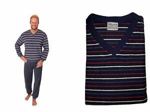 Herren Frottee Pyjama V-Hals Langarm Ringel Bündchen 59887