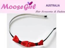 Black Satin Small Red Bow knot Thin Headband Girls Ladies Alice Band Hair Bow