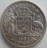 1963 Australia Elizabeth II, Silver Florin, Grading Bright UNCIRCULATED.#b