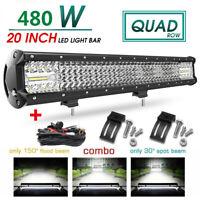 """light bar 20"""" 480W LED phare de travail Feux rampe de toit barre de 4x4 offroad"""