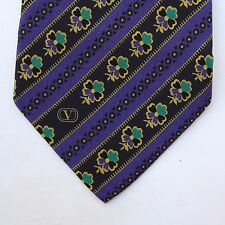 Valentino Made in Italy Purple Geometric Design Flowers Mens Tie Polka dots NICE