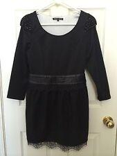 Japan Brand Mun Mun Black Lace Wool Dress 6 Medium M New $160