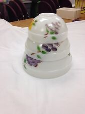 Vintage Fire King Painted Gay Fad Fruit 3 Nesting Mixing Bowls White Milk Glass