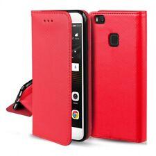 ^ LG G7 Etui Cover Leder-Imitat Handy Tasche Hülle Book Case SMART Magnet ROT