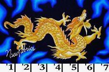 Golden Dragon Fabric Oriental Blue FLAMES Cotton DIY Crafts BTHY