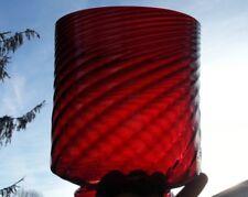 "Victorian Glass Cranberry Swirl Optic Hanging Lamp Light Shade 8""x7""x4 7/8"" Fit"
