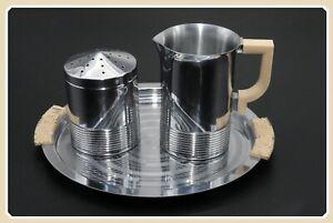 """Chase Meridian Tray Serving Platter 8"""" w/Sugar Shaker & Creamer Bakelite Set"""