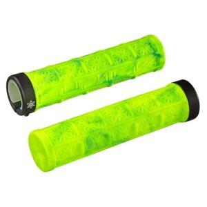SupaCaz Grizips Splash Handlebar Grips - Lock On Lightweight - Neon Yellow/Blue