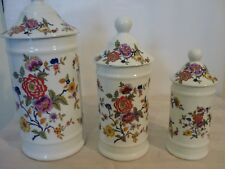 Antique/Vintage Limoges France Set Lidded Containors x 3 Flower Pattern.