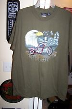 New -Eagle Motorcycle American Flag Green T-Shirt U.S.A Road To Freedom