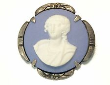 Vintage Wedgwood Jasperware Cameo Pin Set In Sterling Silver Mount