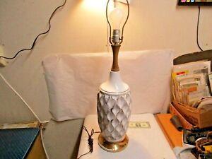 """vtg Mid Century Danish Modern Mid Century White & Gold Ceramic 30"""" Table Lamp NR"""