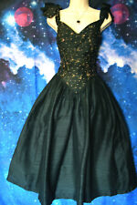 VINTAGE 1980s MONSOON TWILIGHT GOLD EMBROIDERED BLACK SILK 1960s PARTY DRESS, 10