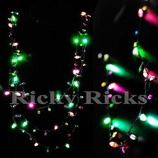 LED Christmas Necklace Light Up Holiday Bulbs Flashing Lights Glow
