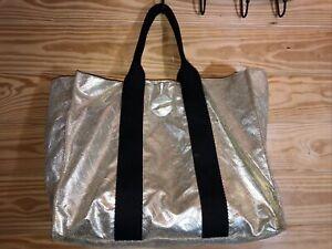 Victoria's Secret Gold Supermodel Tote Bag Travel Metallic Weekender Gym