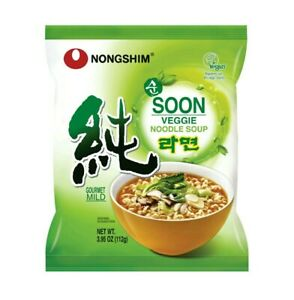 10x Pack Nongshim Soon Veggie Savory Vegan Ramyun Ramen Noodle Soup Pack,3.95Oz
