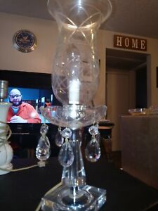 Vintage Crystal Cut Candle Stick Lamp By Leviton Beautiful Piece