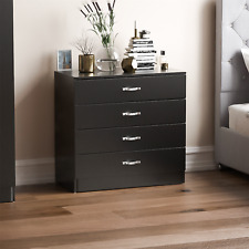 Riano 4 Drawer Chest Black Storage Metal Handles Runners Bedroom Furniture