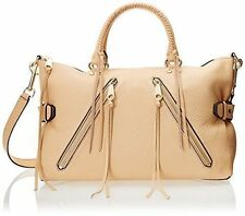 Rebecca Minkoff NWT Moto Satchel Shoulder Bag Leather Biscuit Gold Beige $335