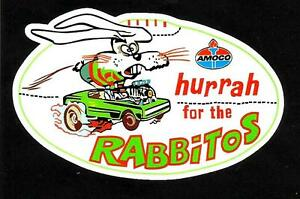 'HURRAH THE RABBITOS'' Vinyl Decal Sticker AMOCO PETROL OILS SOUTH SYDNEY nrl