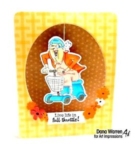 Scooter Pat 2 dies  (U get photo 2 L@@K@examples ART IMPRESSIONS RUBBER STAMPS